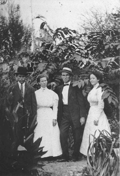 "Left to right: N.N. ""Node"" Langdale and his wife Lily ""Tudie"" Rigell Langdale, and Dave Rigell and Julia Knight Rigell. Photo about 1910<br /> Photo courtesy Elizabeth Felts"