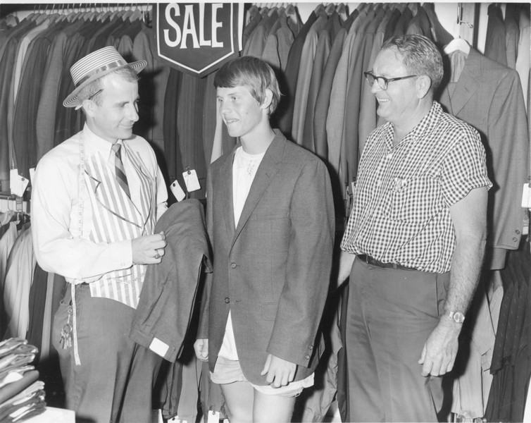 James Marshall suit fitting at Moores Oct 1969