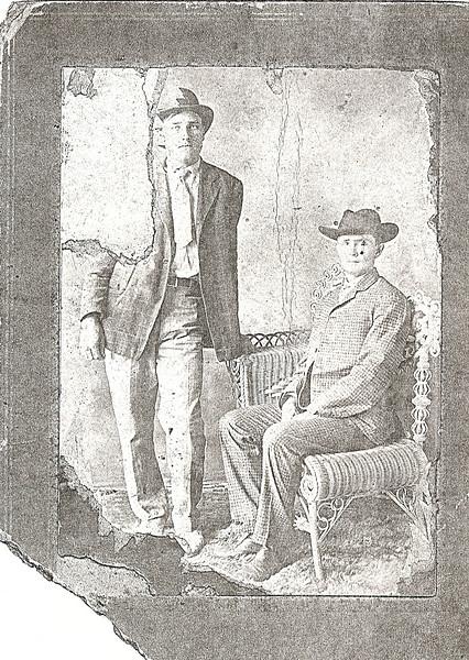 "Probably Orris Avera (left), son of Webster Daniel and Martha ""Mattie"" (King) Avera, and, William Charles McKinnon, son of Reddick Charles and Carrie Ann Jane (Goodman) McKinnon."