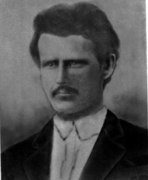 Reddick Charles McKinnon, born September 24, 1853, died 28 June, 1936, the son of Lauchlin and Mary Ann Pierce McKinnon.  He married Carrie Ann Jane Goodman, daughter of James Franklin Goodman and Lamanda Deans.  He was a brick maker, and made bricks for many structures around Nashville and Berrien County, including the bricks inside the walls of the courthouse, the tobacco warehouse built by A. W. Gaskins, Sr., and countless others. His mother, Mary Ann Pierce, was the daughter of Reddick Pierce, a Methodist preacher, and his uncle was Lovick Pierce, a Methodist Bishop.  At age 15, circa 1868, shortly after his family arrived in Berrien County from Telfair County, he was listed as assisting in the building of the first Methodist Church in Nashville, on land owned by his future father-in-law, James F. Goodman, in the southeast corner of City Cemetery, where the William Bryan Goodman family plot sits.
