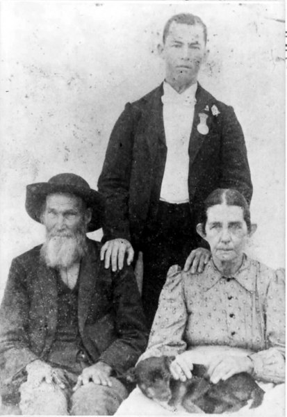 John Robert Moore and his wife Jane English Moore with their son John Groover Moore