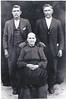 Maryann Jane Morris Hancock (1836-1919), wife of Daniel Jackson Hancock who died during the War Between the States. Standing are her two sons, James Irvin Hancock (1861-1940, Burwell Harrison Hancock (1858-1939). She also had a daughter, Susan. Maryann Jane's father was Lovenski Morris.