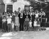 "Nix Family, identification with approximate photo alignment, left to right:<br /> Front row: Wilson Nix, Henry Gray, Jerry Don Morton, Dottie Nix, Billy Bob Nix, Wilson Nix, Judy Nix, Harriett Morton.<br /> 2nd Row: Russell Gray, Jimmy Morton, Vera Nix Morton, Joe Varn Nix, Nancy Swain Nix, Annie Lee Nix Maddox, Nancy Nix and Mrs. Mathis.<br /> 3rd Row: Faye Nix, Marvin ""Coot"" Nix, Harry Morton, Geneva Moore Nix, J. R. Nix, Lessie Ina ""Bill"" Nix Gray, Katie ""Boyett"" Nix, Lamar Gray<br /> 4th Row: Guy Maddox, Frances Gray, Charlie Gray, Willard Nix and Rober ""Buck"" Nix<br /> Photo and identifications courtesy of Frances Gray Plair."