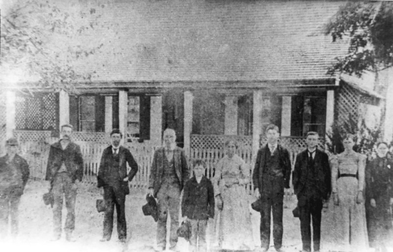 John D. O'Brien brought Catholocism to then Berrien County, now Lanier County about 1855. The O'Brien family shown left to right: Henry, Ben, Dan, John D., Willie, John D's wife Sarah, Joe, Tom, Margaret, and Ellen. Photo courtesy of Catherine O'Brien Johnson