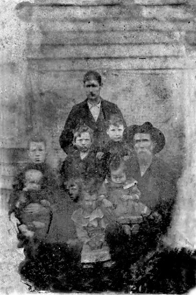 The John Parr Family. Identification needed.<br /> Photo scanned from 2x3 tintype courtesy of Thomas Parr