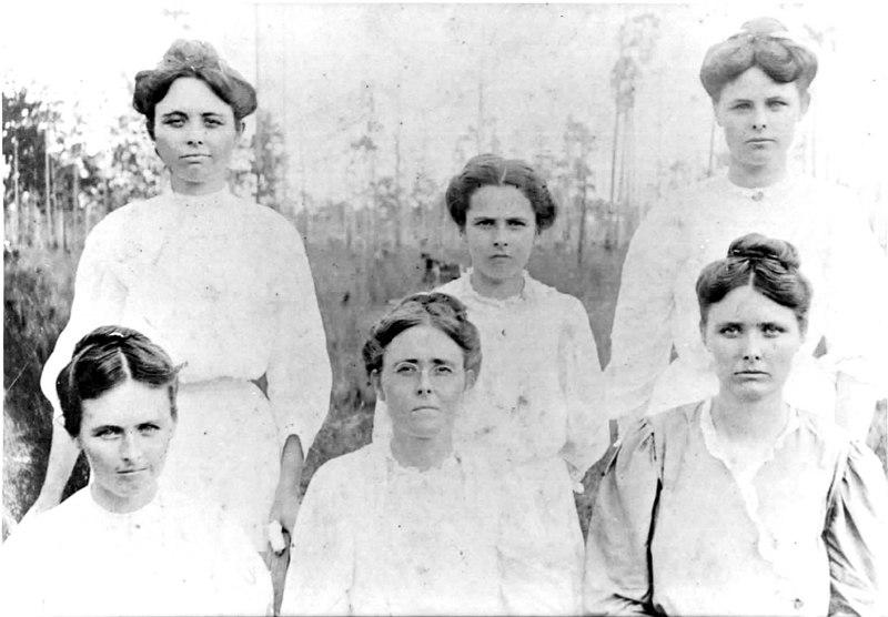 --------Patten sisters: Seated left to right: Della Matilda (Patten) Corbitt, Jennie Patten, Mary Patten---------<br /> Standing left to right: Mellie Patten, Faye Patten, Carrie Patten