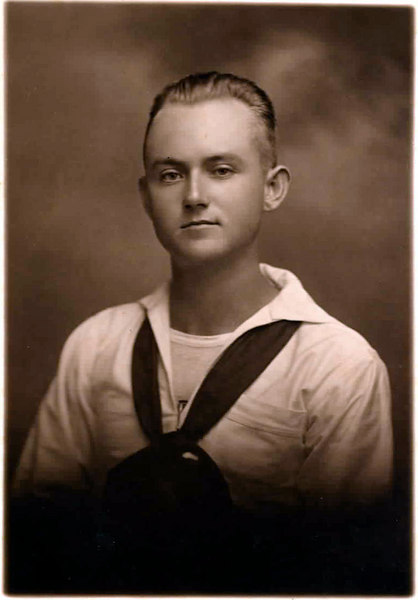 Lawson Patten about 1918 during WWI. He is pictured here as a student in Yoeman School U. S. Navy, Hampton Roads, Va. He was preparing for clerical work aboard ship in trans-Atlantic service.