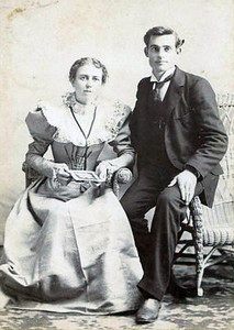 Debbie Nichols Taylor and Allison Lester Taylor in late 1800's. Parents of Earl Taylor (moved to California after returning from WWI), Blanche Taylor Bennett (wife of Dick Bennett, Sr.), Floy Taylor Bennett (wife of Buoie Bennett), Fred Taylor, Ruth Taylor Griffin, (wife of Foster Griffin) and Larry Taylor. Allison Lester Taylor was a barber in Nashville for many years. (Courtesy of Zona McGuirt, daughter of Buoie L. Bennett)