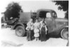 Children of Drew and Eva Vickers, taken about 1942.  <br /> Left to right, front: Iven, Magaliene, Harvey; back: Raymond, Naomi, Geneva<br /> Photo courtesy of Naomi Vickers Lloyd