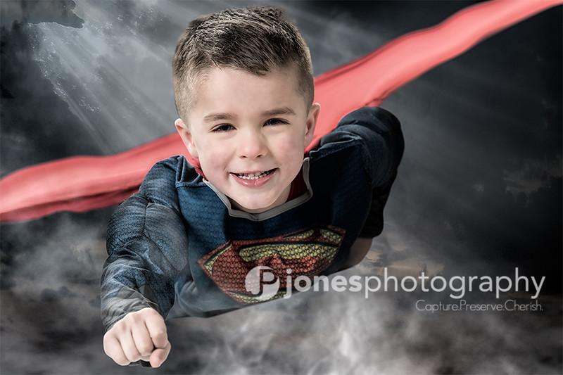 Superman flying boy photo