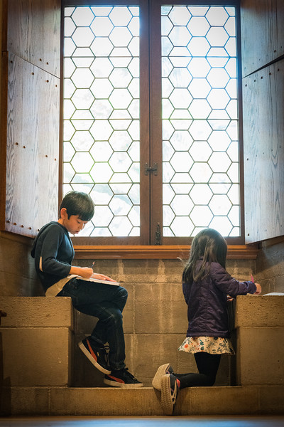 Kids drawing in the Cloisters