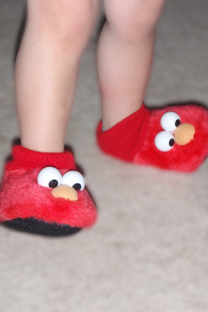 Elmo....he made me put them on him...they were 2 sizes to small....