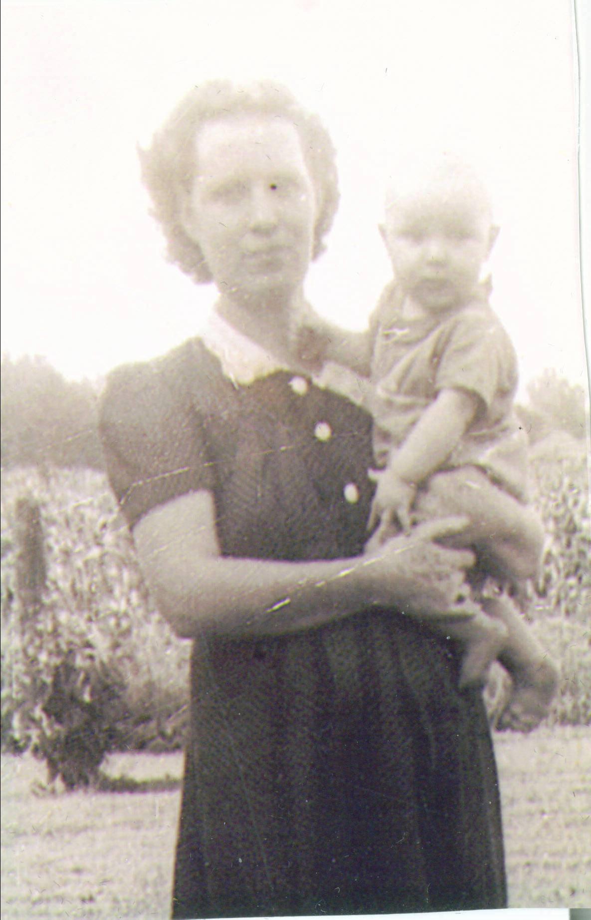Winifred Jones with Monty Jones in hand.