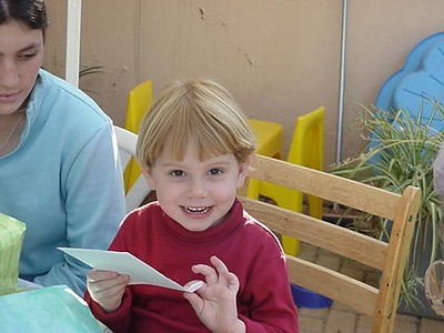 Sami on her 4th Birthday with a Card  Sami on her 4th birthday (23 May 2004)
