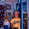 David and his swimming ribbons and trophies.