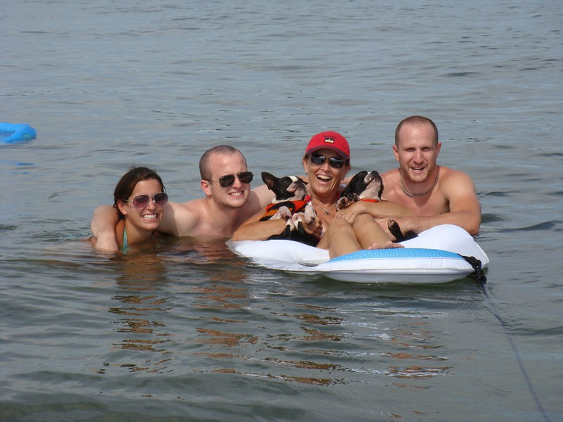 Family afloat!  Swimming from the boat at anchor off Cape Charles, VA summer 2009.