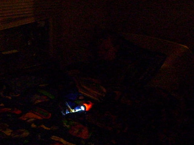 "Grainy video of Jack ""reading"" to himself after ""lights out""."