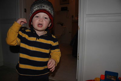 Check out my new cool hat!  OK.  Actually, it's mommy's hat.