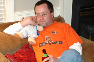 Daddy sneaks some alone time with Bear.