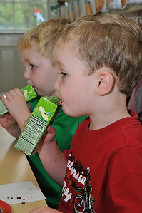 The boys all made sure they had the same flavor of green juice box.
