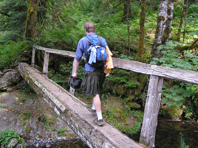 Nathan Crossing a bridge