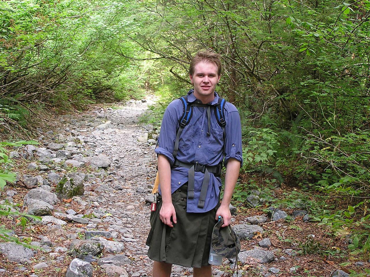 Nathan wearing a kilt.