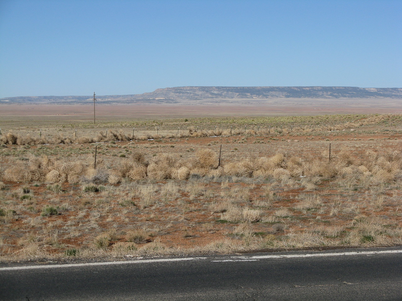 It is a sage brush desert all around, but you can see for tens of miles.