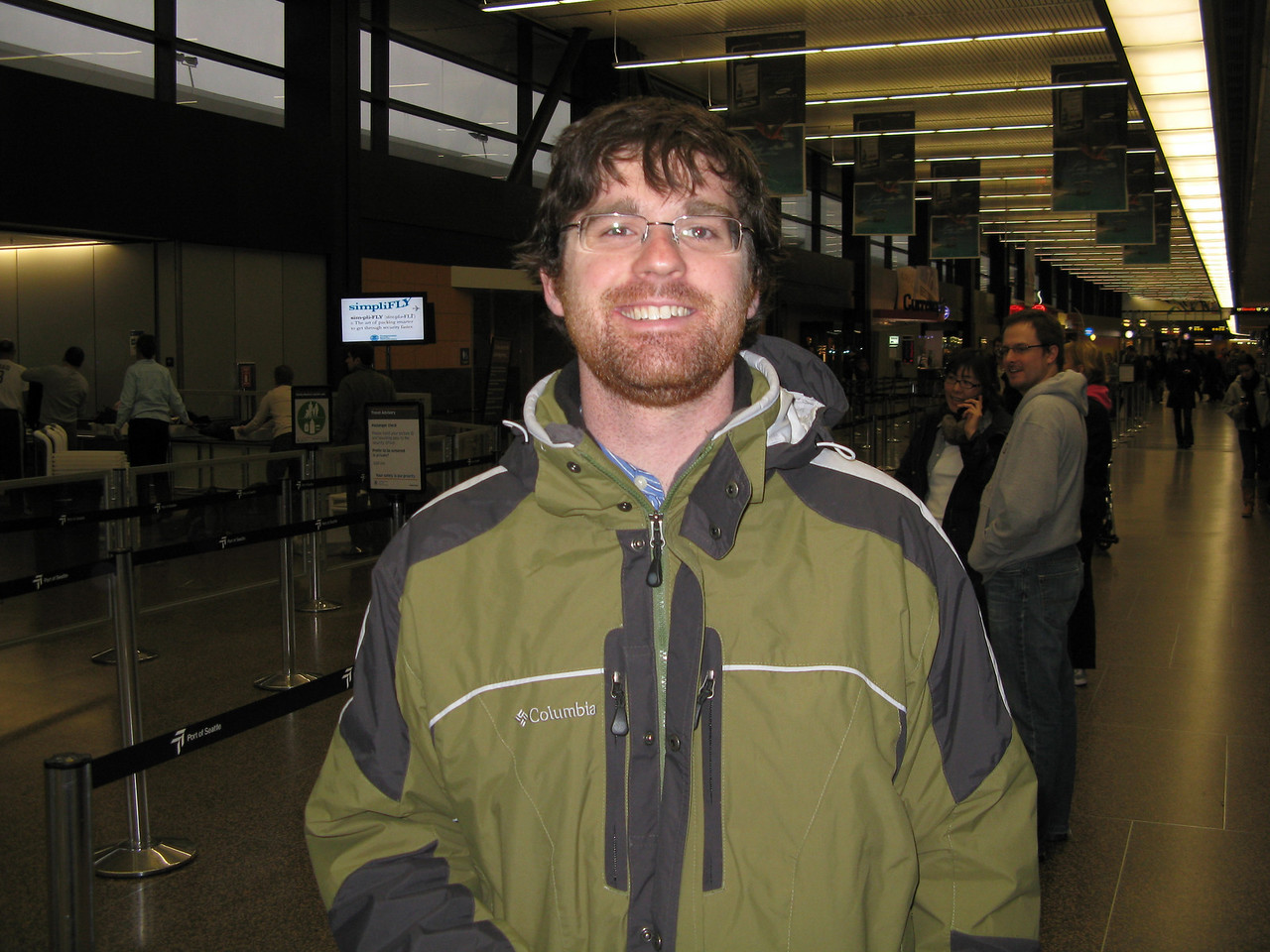 Robert in the airport ready to fly home on Sunday, January 11, 2009.