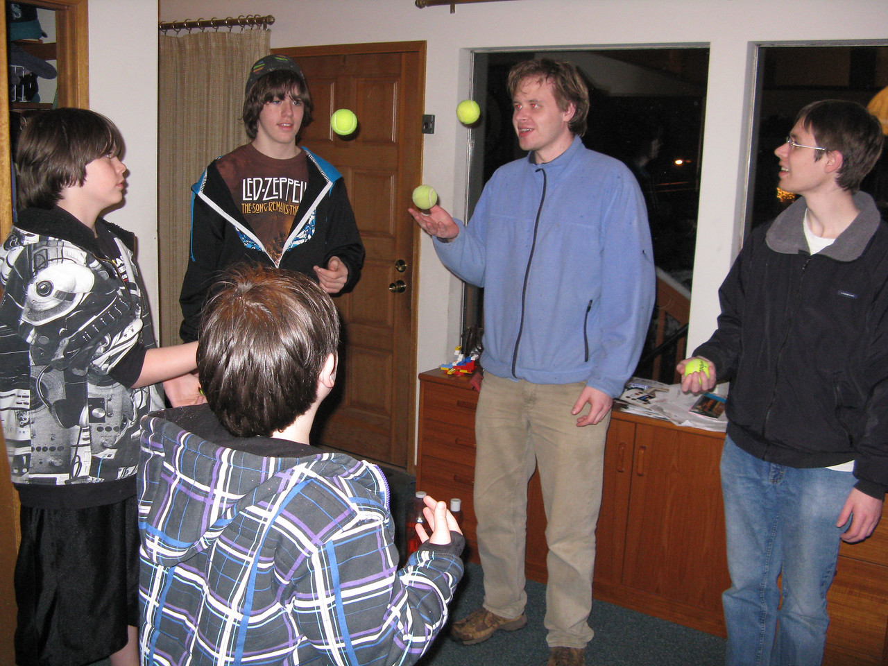 Yep, Nathan is demonstrating his juggling ability.  (L to R) Corey, Derek, Nathan, Kevin and Riley (with his back to the camera).