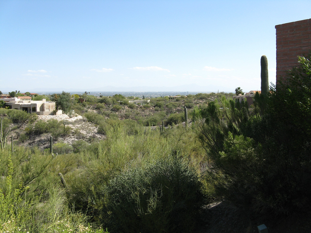 This is the view from the back terrace of Mary's dad's new house in the northern section of Tucson.  This image is looking southeast towards downtown Tucson.