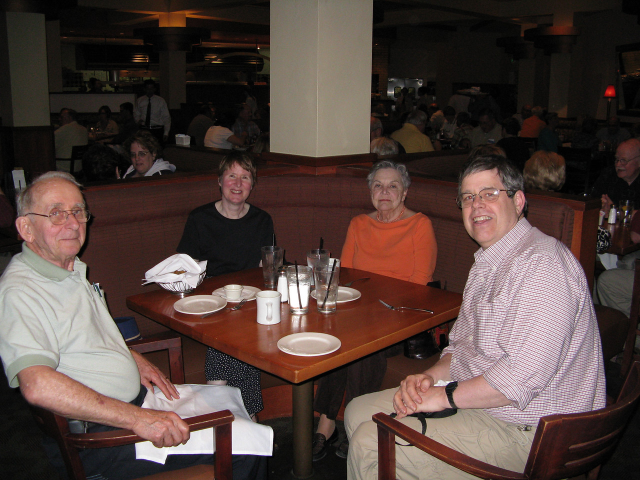 After Martin and Mary arrived on Friday, April 3, we all went out to dinner.  (L to R)  Hal Judd, Mary's dad; Mary; Jean, Mary's step mother; and Martin.