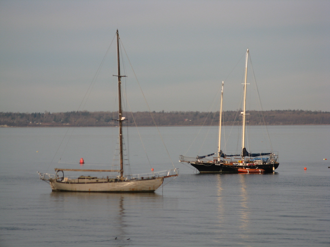 Two large sailboats, including the twin-masted ketch, near Bellingham.