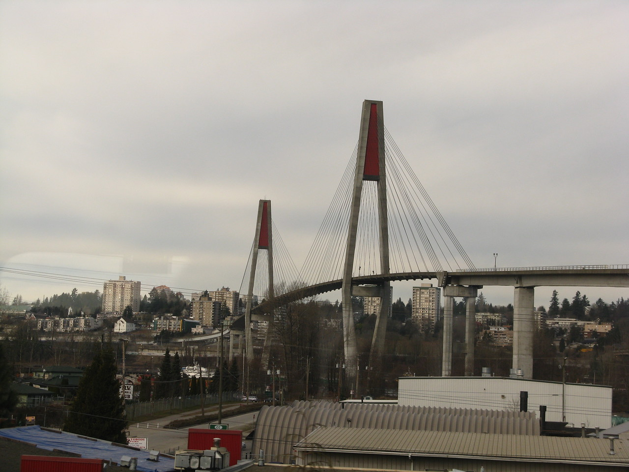 The Skytrain Bridge across the Fraser River.  The Skytrain is the name for Vancouver's light rail transit system.