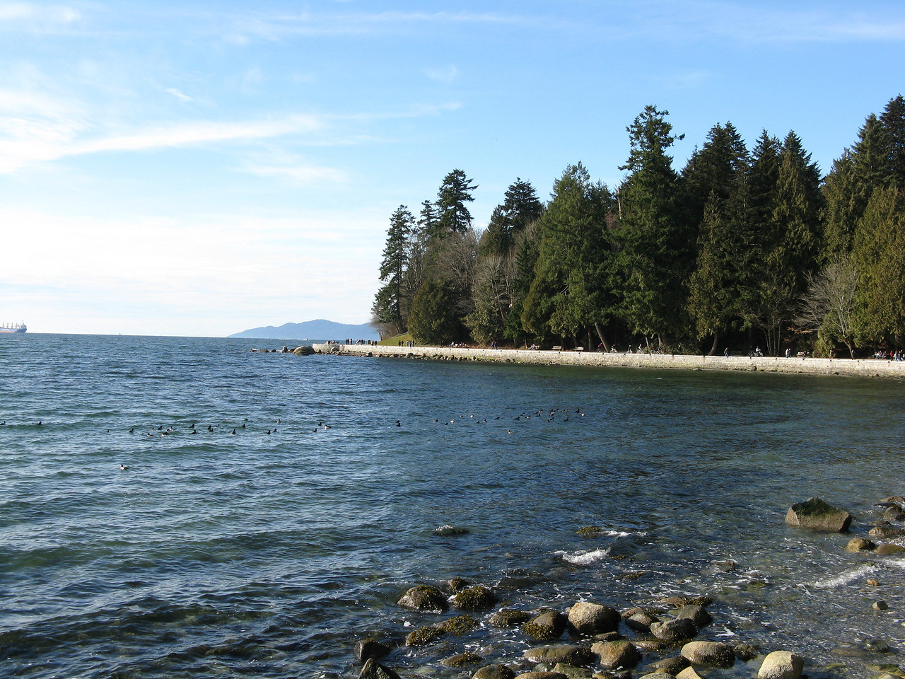 English Bay, looking northwest at Burrard Inlet, on the west side of the park.