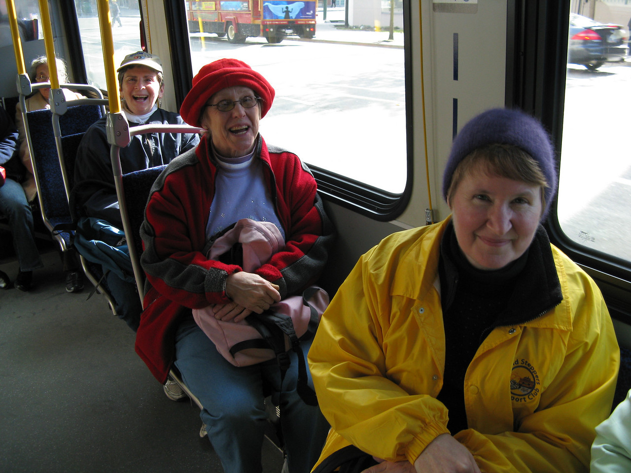 Seats opened up after getting through Chinatown on West Pender Avenue.  (front to back) Mary, Carolyn and Sherry.