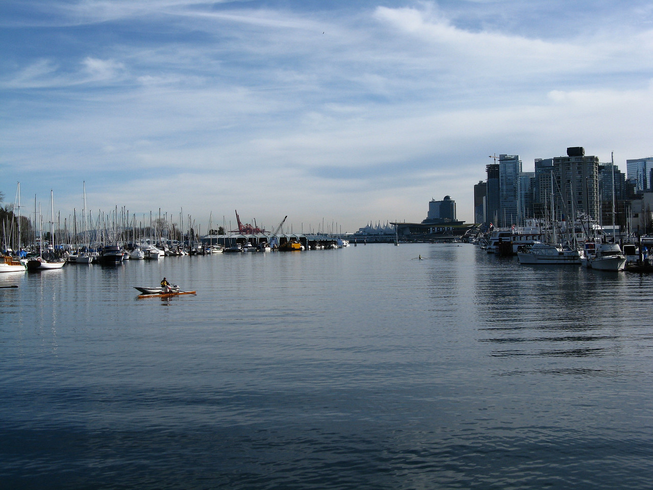 Coal Harbour on the east side of  Stanley Park, looking southeast.