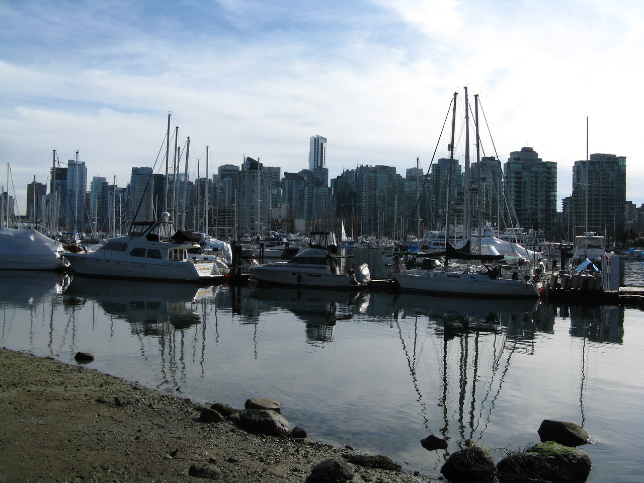Looking across the marina at Coal Harbour to downtown Vancouver.