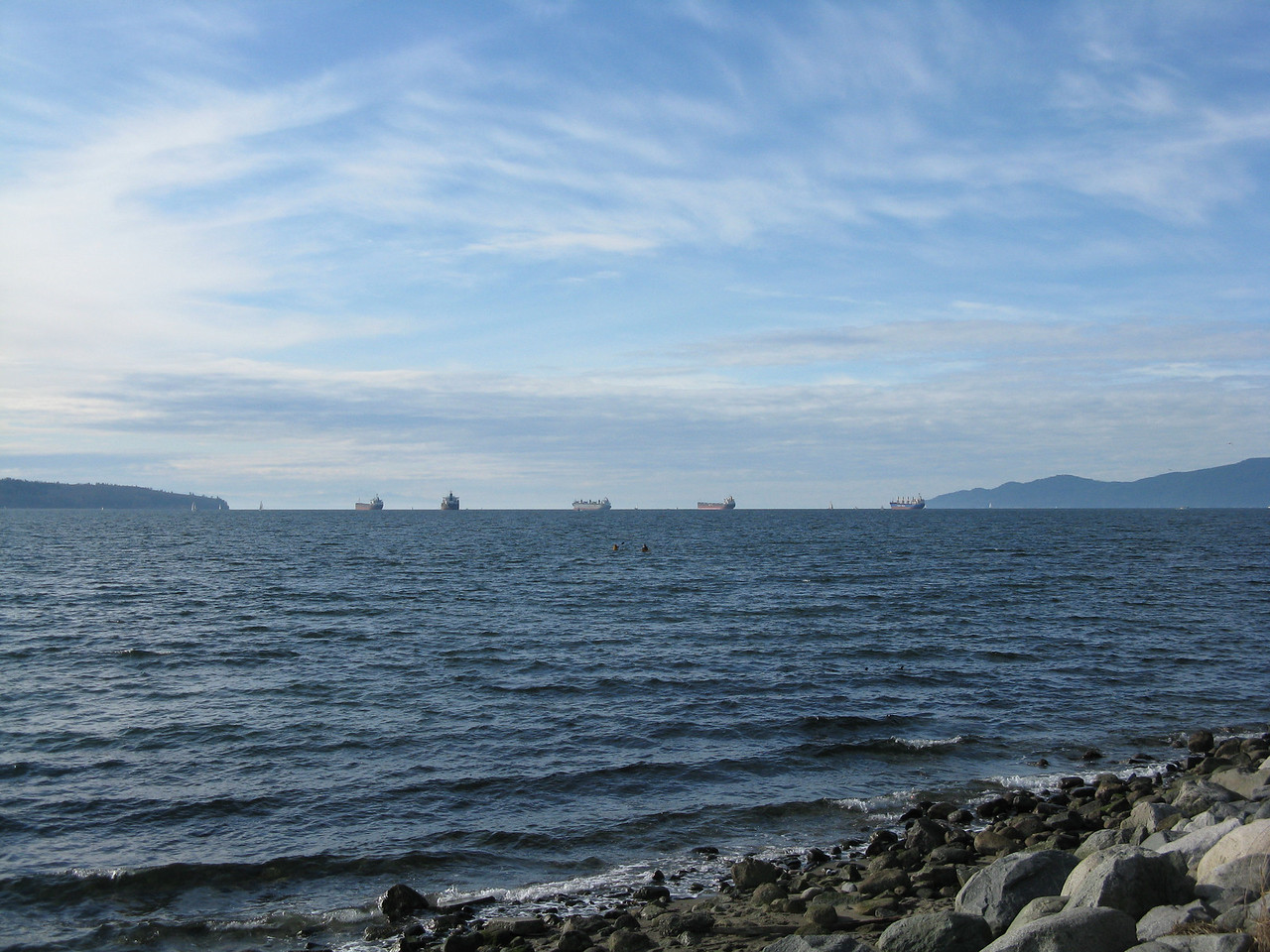 Burrard Inlet from English Bay on the west side of the park.