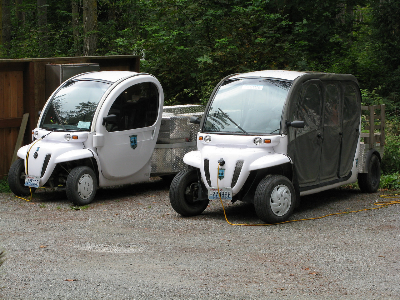 Mary is fascinated by these odd looking electric cars.  They are plugged into an electric source for recharging.  We did not see any electric cars functioning while we hiked in the park.  We were hiking on the Friends Trail when we came upon these vehicles.