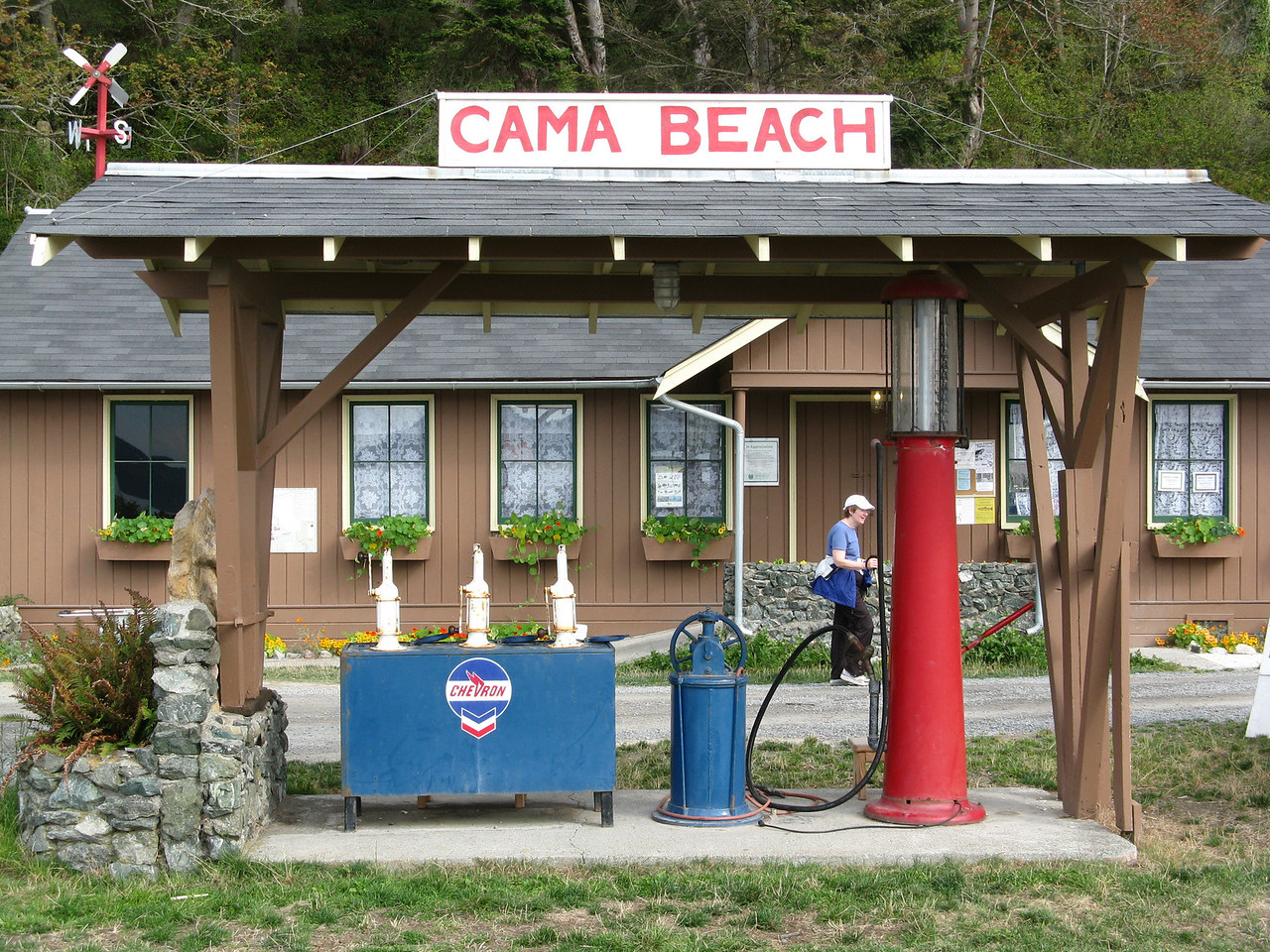 Cama Beach was a resort before the land and buildings were donated to the state.  Here is the antique fuel pump in front of the camp store.