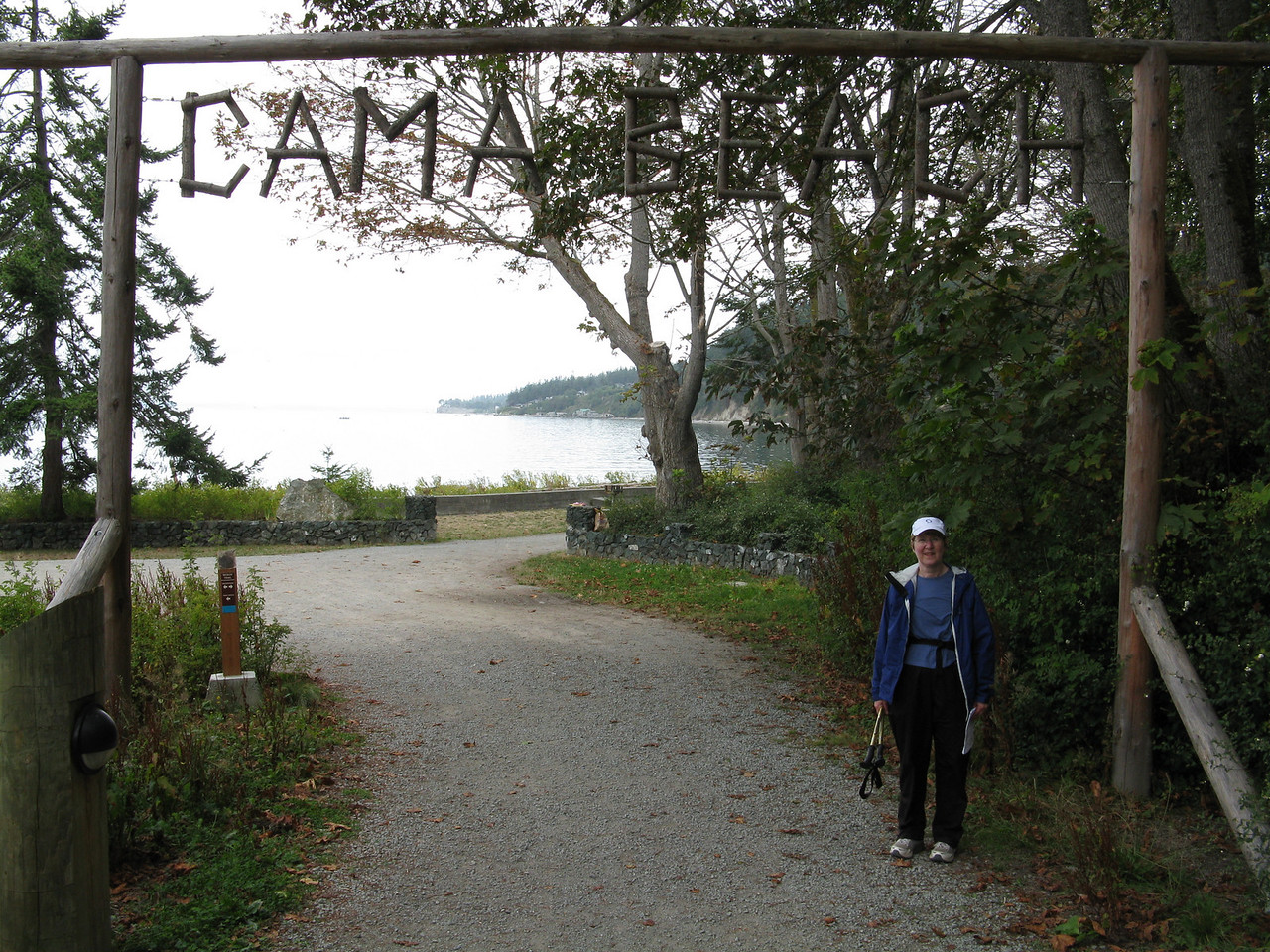 Thia picture shows the sign over the trail as we get close to the beach.  Mary.
