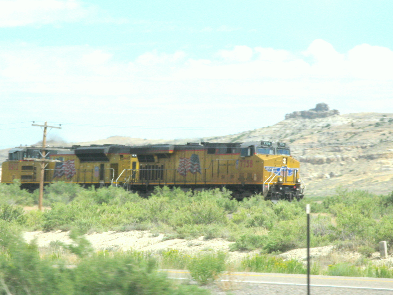 We saw lots of Union Pacific trains along I-80 in Utah and Wyoming.  This one is west bound in Wyoming.