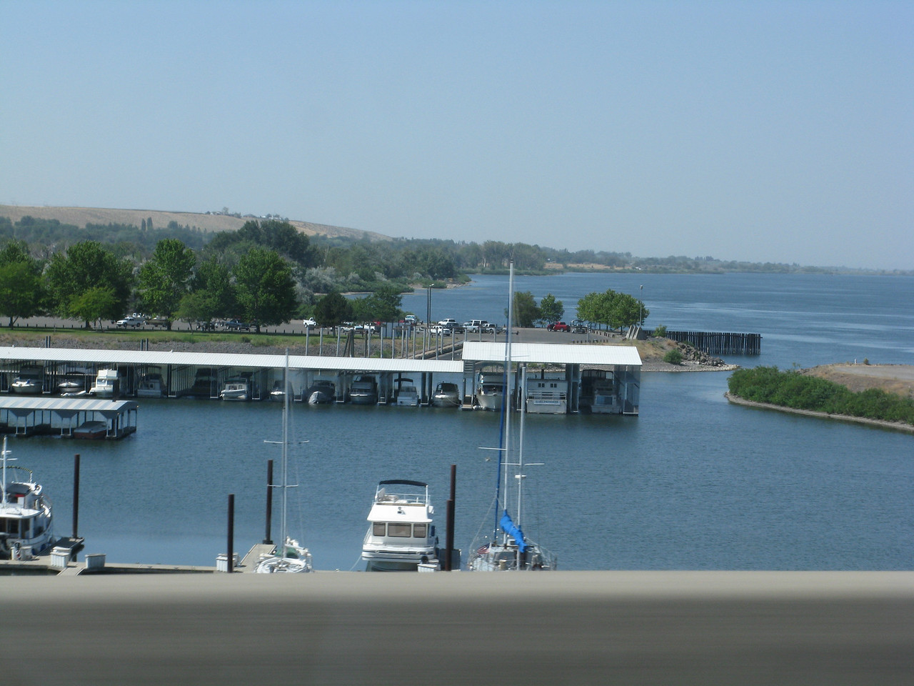Here is a small marina with a couple sailboats on the Oregon side of the Columbia River.  Not far from the Columbia River bridge on i-82, we turned onto I-84 in eastern Oregon.  From this point in eastern Oregon to western Wyoming, we followed the general direction of the historic Oregon Trail.