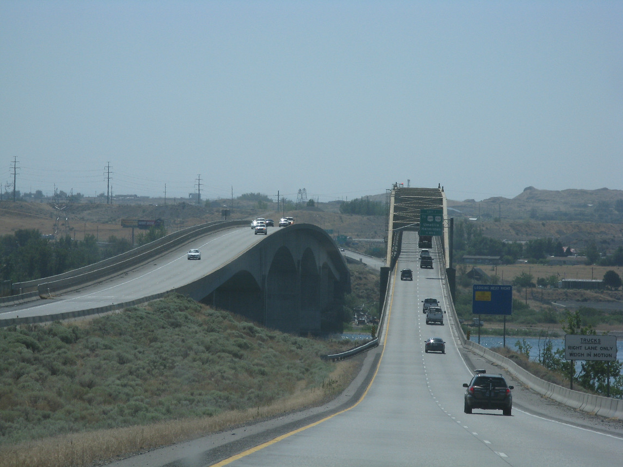 We departed Edmonds at about 8 a.m on Friday, August 13.  After driving east on Interstate 90, we headed southeast on I-82 towards eastern Oregon.  Here is the approach to the McNary Bridge that crosses the Columbia River on Interstate 82 at Umatilla, Oregon.