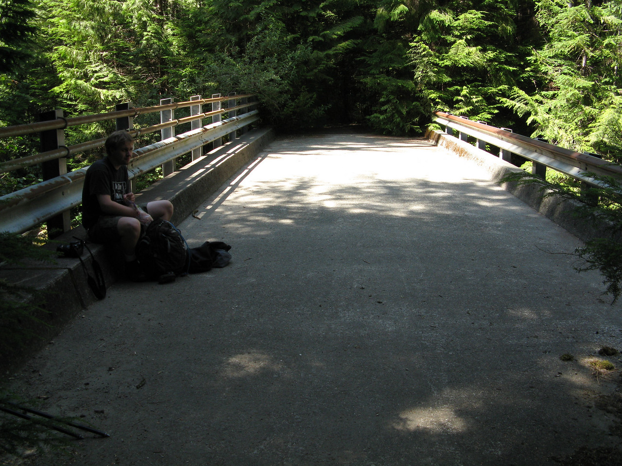 Our destination was Big Creek Falls, which was next to this car bridge at 5 miles from the trailhead.  We gained only 600 feet in gradual elevation.  This bridge was built in 1965 and has been abandoned since about the early 1980s.
