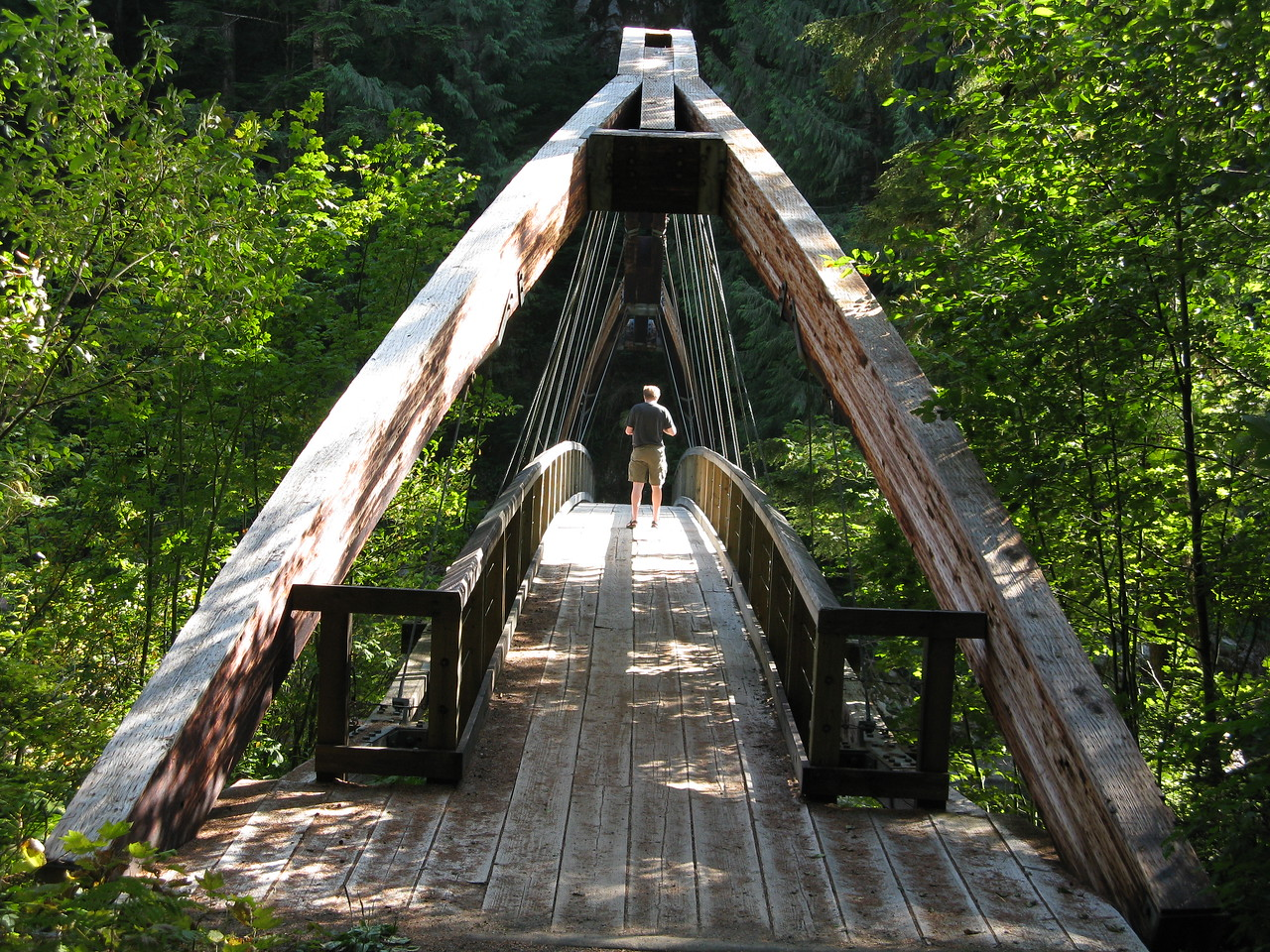 This is a foot bridge over the Middle Fork of the Snoqualmie River just downstream from the confluence with the Taylor River.  It is also the start of the Middle Fork Trail.