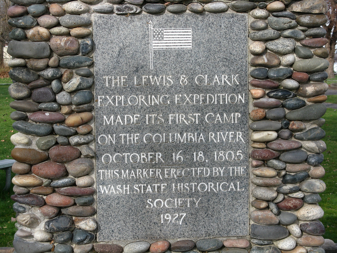"Lewis and Cark's Corps of DIscovery came down the Snake RIver to the point of its confluence with the Columbia and camped here.  Then they headed down the Columbia to its end at the Pacific Ocean.<br /> <br /> ""... we arrived at the great Columbia river, which comes in from the northwest. We found here a number of natives, of whose nations we have not yet found out the names. We encamped on the point between the two rivers. The country all round is level, rich and beautiful, but without timber ..."" [Patrick Gass, October 16, 1805]  <br /> <br /> The young Shoshone woman who accompanied Lewis and Clark's expedition was named Sacajawea."
