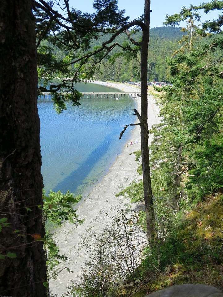 The beach at Bowman Bay from the bluff trail to Lighthouse Point