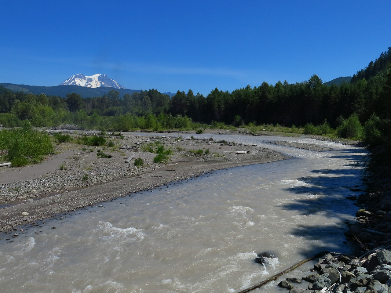 Mineral Creek and Mount Rainier in the distance