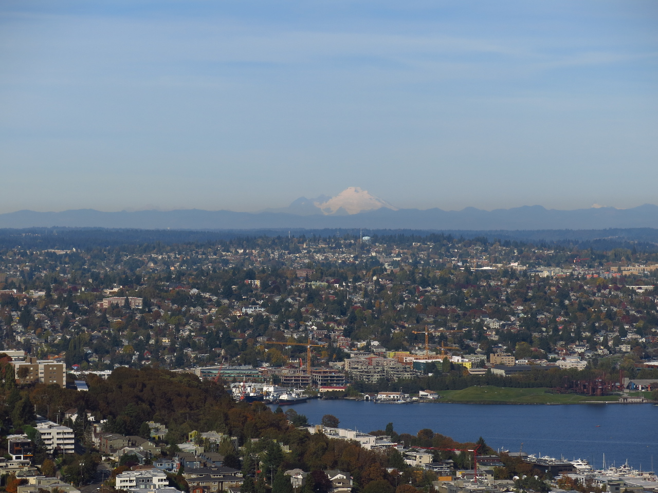 Looking North:  Lake Union in the foreground and Mount Baker in the distance